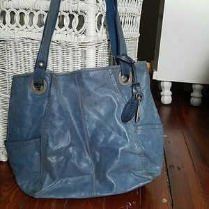 Blue leather fossil bag